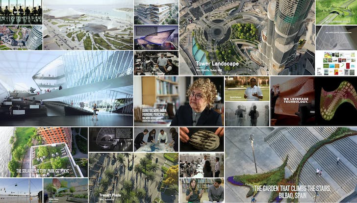 Screenshots of the showreels of Synthesis Design Architecture, Balmori Associates, and SWA Group.