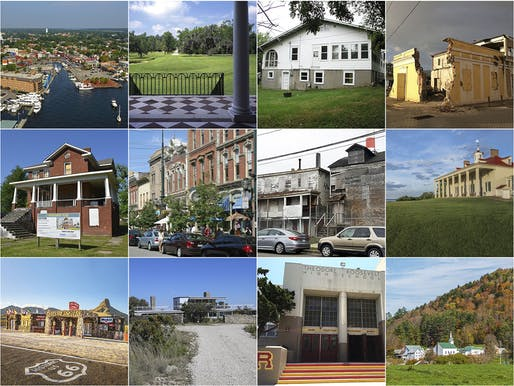 "The 11 ""America's Most Endangered Historic Places"" sites and 1 ""Watch Status"" site for 2018. (Images via savingplaces.org)"