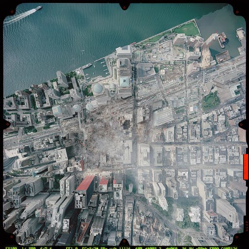 The World Trade Center site following the 9/11 attacks, Image courtesy of National Oceanic and Atmospheric Administration.