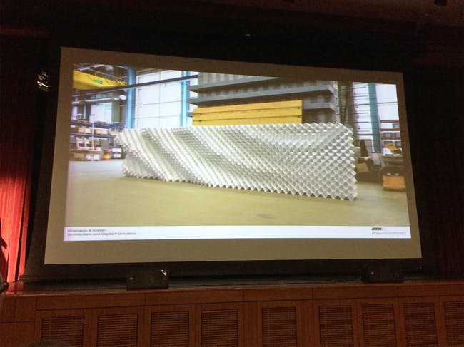 From Maximilian Vomhof's presentation, 'Robotic Fabrication of Acoustic Brick Walls'. Photo credit: Anthony Morey.