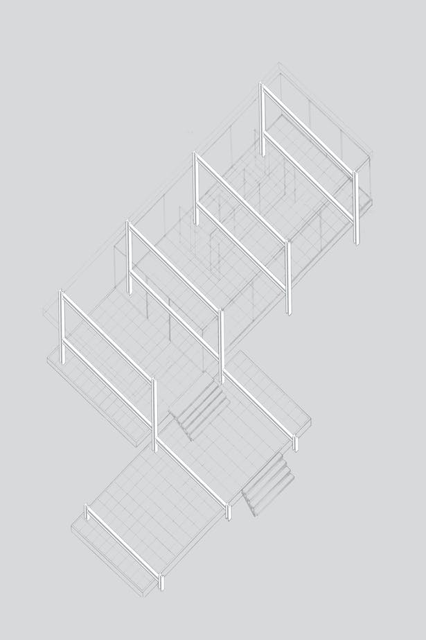 Axonometric drawing with structural emphasis.