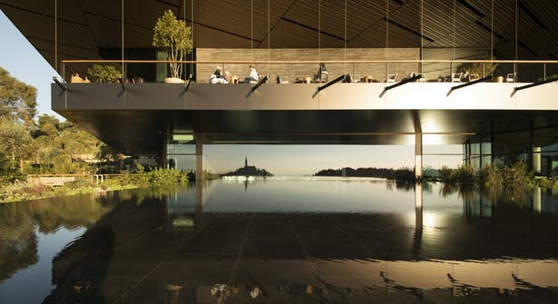 The congress hall overlooks the city from the largest glass window in Europe