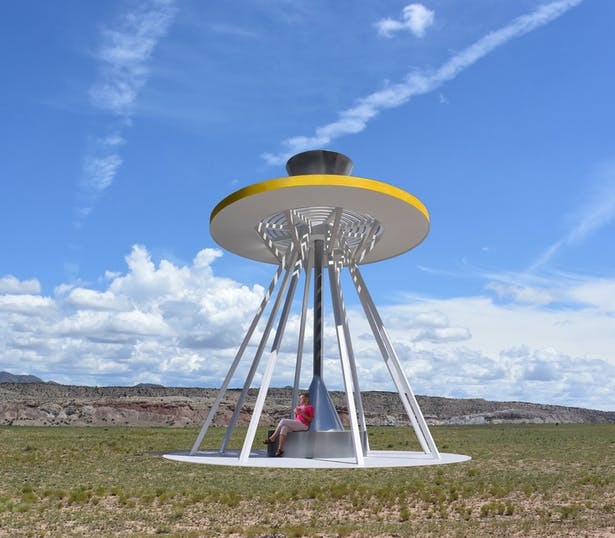 The Solar Wind Tower that makes electricity from the sun and collects and stores rainwater for the local community.