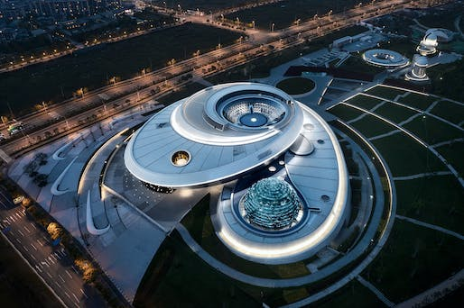 Aerial shot of Ennead's new Shanghai Astronomy Museum. Photo: ArchExists.