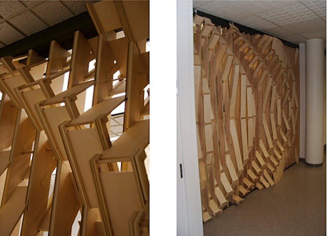 Ripple Wall- The Ripple wall installation, is composed of entirely friction components, exemplifying the use of digital tectonics made available through digital fabrication equipment.