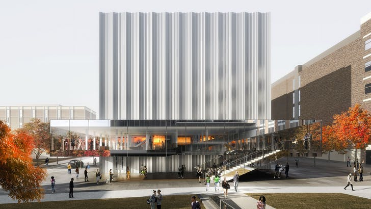 The Performing Arts Center at Brown University, designed by REX. Image courtesy of © Luxigon.