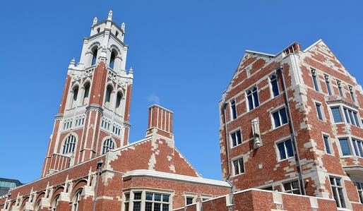 Closeup of Yale's newly opened residential college. Photo: Michael Marsland.