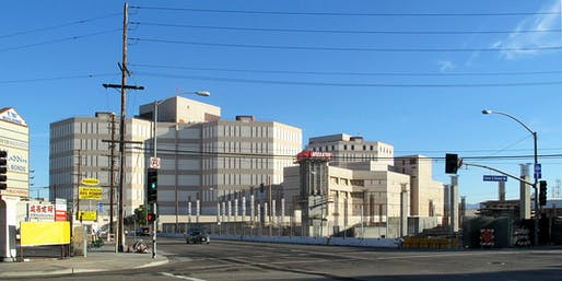 View of the Twin Towers jail and Men's Central Jail facilities in Downtown Los Angeles. Image courtesy of Wikimedia user Downtowngal.
