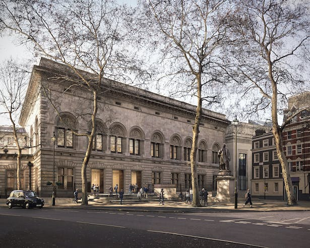 Proposed forecourt by Jamie Fobert Architects for the National Portrait Gallery