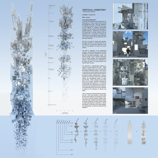 "Winner of Jeff Harnar Award for Unbuilt Architecture: 'Vertical Cemetery for Extinct Species"" by Darby Prendergast, University of New Mexico Master of Architecture student. Image © Darby Prendergast."