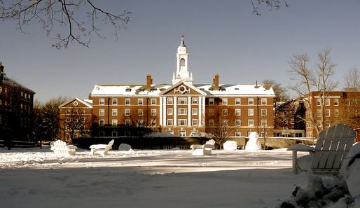"Harvard Campus. Photo courtesy of Wikimedia user <a href=https://commons.wikimedia.org/wiki/File:Snow_and_Pforzheimer_House,_Harvard_Campus,_Cambridge,_Massachusetts.JPG"">Rizka</a>"