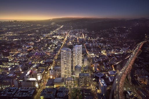 Rendering of the proposed Hollywood Center development. Image: Shimahara for MP Los Angeles.