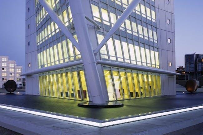 Base of Santiago Calatrava's Turning Torso in Malmö, Sweden. Image courtesy of Santiago Calatrava Architects & Engineers.