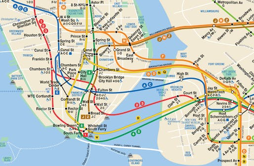 Detail of the Hertz-style 2019 New York City Subway Map. Courtesy of Metropolitan Transportation Authority of the State of New York.