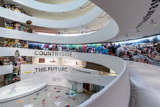 Installation view of the Guggenheim Museum rotunda. Image by David Heald © Solomon R. Guggenheim Foundation.
