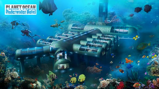 The Planet Ocean Underwater Hotel may become the world's first roving, underwater boutique hotel. Credit: Planet Underwater Ocean Hotel