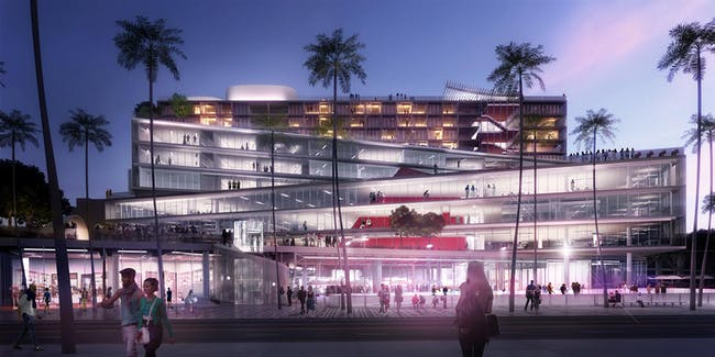 OMA's competition-winning design 'The Plaza at Santa Monica', view from Arizona Ave, Image © OMA