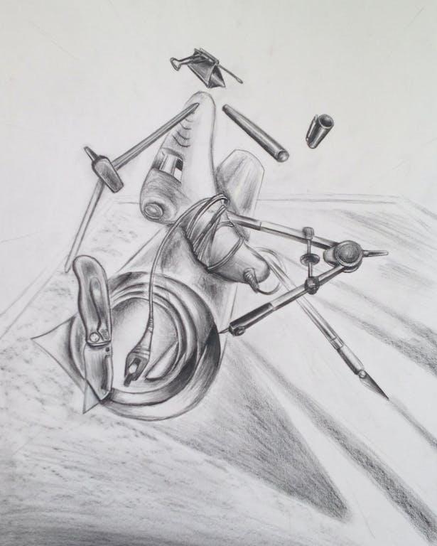3D Object Arrangement, Pencil drawing