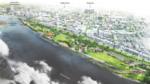 Aerial view of Tom Lee Park, designed by Studio Gang and SCAPE. All renderings courtesy of Memphis River Parks Partnership / Studio Gang.