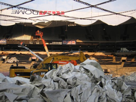 Demolition of the RCA Dome fabric roof.