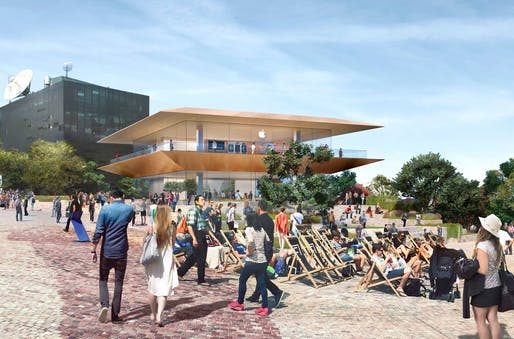The new Apple concept store proposed to replace Melbourne's Federation Square's southern building.