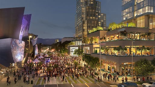 Will the long-delayed Grand Avenue addition finally complete LA's cultural and civic district? Image: Gehry Partners/Related Cos.