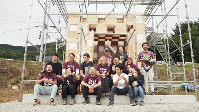 Kawauchi Wine Tasting Pavilion - under construction - by studetns and owners