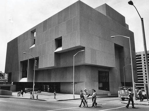 Historic photo of the brutalist Atlanta Fulton Central Library building. Image via Atlanta Journal-Constitution.