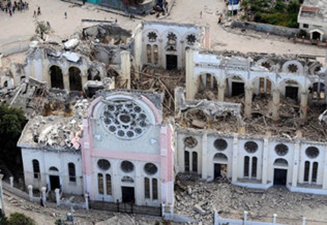 The Notre Dame de l'Assomption Cathedral in Port-au-Prince, Haiti, is pictured following the earthquake on Jan. 16, 2010. (Photo: PETER ANDREW BOSCH / MIAMI HERALD STAFF)