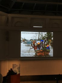 Adeyemi shows images from villagers in Makoko
