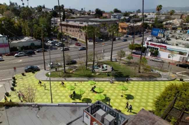 Rios Clementi Hale Studio's Sunset Triangle parklet in Silverlake, image via Inhabitat.com