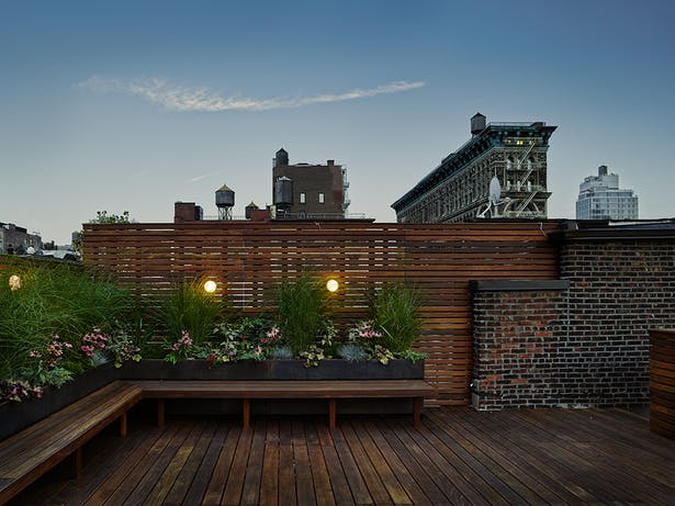 The rooftop patio offers spectacular city views, and a quiet place to think.