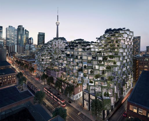Rendering of BIG's Westbank King Street project in Toronto. Image: Hayes Davidson, via The Globe and Mail.
