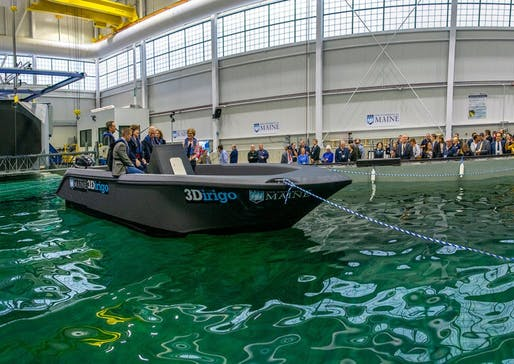 3Dirigo - the University of Maine's 25-foot-long 3D-printed boat. Image courtesy of the University of Maine.