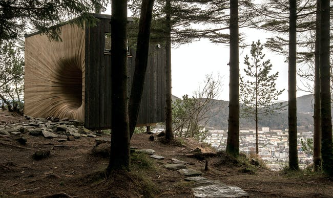 The Tuba Cube Mountain Hut in Bergen, Norway by Bergen Arkitekthøgskole. Photo © Espen Folgerø