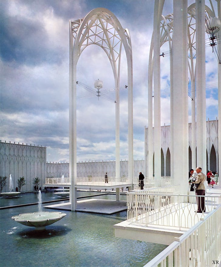 Ground-level view of Minoru Yamasaki's Gothic-inspired designs for the 1962 US Science Pavilion at the World's Fair in Seattle. Image courtesy of Flickr user James Vaughan.