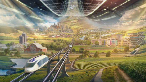"Rendered image of Jeff Bezos"" Blue Origin space city was inspired by former professor Gerard O'Neill. Image © Blue Origin"