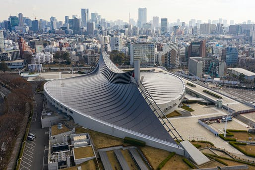 "Aerial view of Tokyo's Yoyogi National Gymnasium, designed by Kenzo Tange and built between 1961 and 1964. Photo: Arne Müseler / <a href=""http://arne-mueseler.com/"">arne-mueseler.com</a> / <a href=""https://creativecommons.org/licenses/by-sa/3.0/de/deed.de"">CC-BY-SA-3.0</a>"