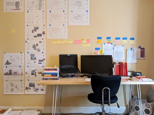"""The Studio Duplicator: """"Cleaned off my desk, got everything laid out as close as I can to what I had at school."""" Photo & quote courtesy of a participating University of Tennessee student."""