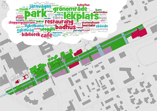 Plan based on citizens dialogue in word cloud on top. Green is park zones, Red is building zones and blue communication zones