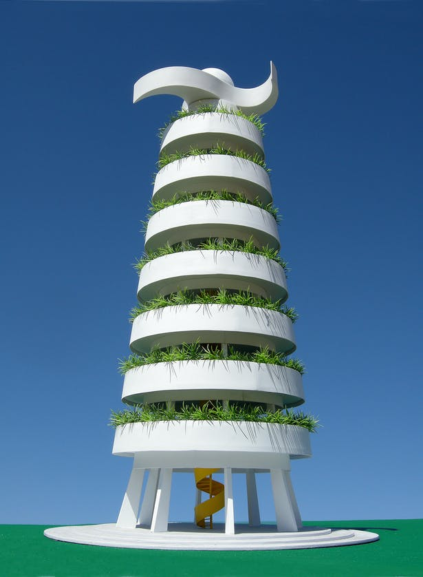 The Eco-Tower a public art gathering place that makes electricity from the sun and from the wind and collects rainwater for the local community.