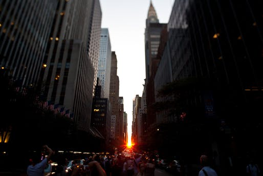 "View of ""Manhattanhenge"" at 42nd St. and 2nd Ave. Photo: Geoff Stearns/Flickr."