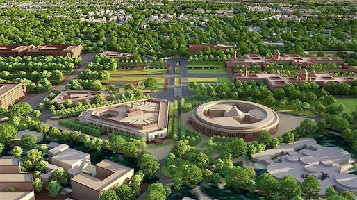 Rendering of the new Delhi parliament complex. Image: HCP Design, Planning and Management Ltd.