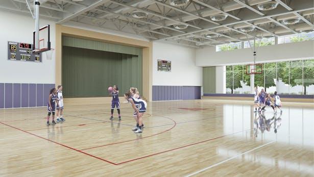 Athletic Center - Gymnasium interior view, The Archer School for Girls