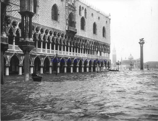 View from the 1966 floods that inundated the city. Shown: The Doge's Palace partially submerged by water. Image courtesy of Wikimedia.