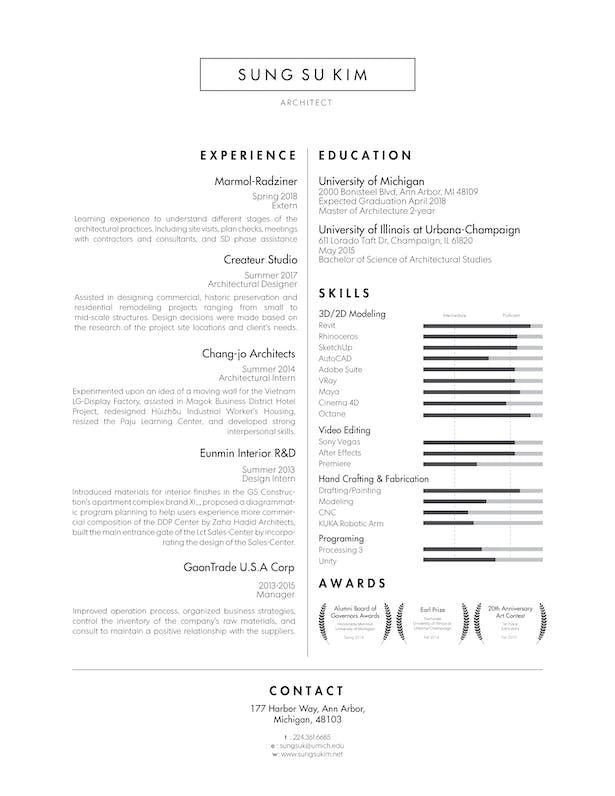Resume   Sung Su Kim   Archinect
