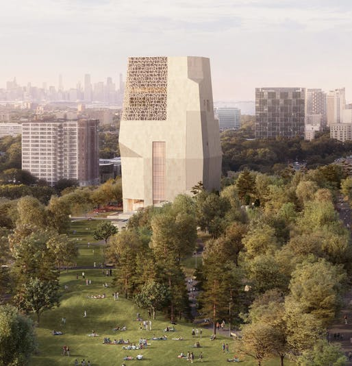 the Center designed by Tod Williams & Billie Tsien Architects in collaboration with Interactive Design Architects (IDEA) as Associate Architect. Image courtesy of Obama Foundation
