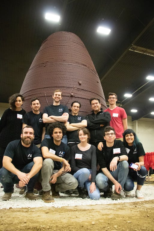The AI SpaceFactory team at the 3D-Printed Habitat Challenge at Caterpillar's Edwards Demonstration & Learning Center in Edwards, Illinois. Photo: AI SpaceFactory.