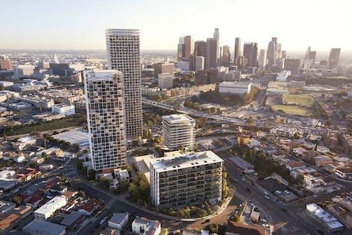 Aerial rendering of 1111 Sunset Boulevard. Image: SOM/Palisades.