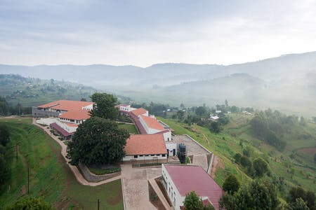 Butaro Hospital in the Burera District of Rwanda: aerial view of hospital. (Photo: Iwan Baan)